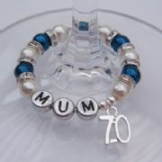 70th Birthday Personalised Wine Glass Charm - Full Sparkle Style